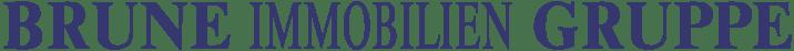 Logo Brune Immobilien Gruppe Schrift nebeneinander dunkelblau