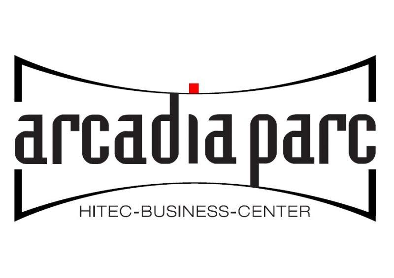 Logo Arcadia Parc mit rotem I-Punkt