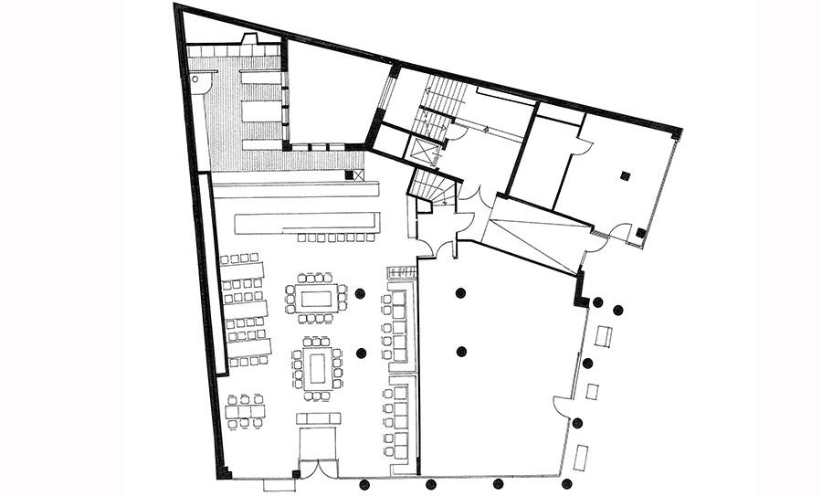 Grundriss Ladenlokale und Büroflächen Schadowstrasse 86-88 in s/w