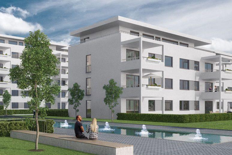 Arcadia Höfe Animation Ausschnitt Blick über Wasserfläche auf weiße Gebäudefassaden