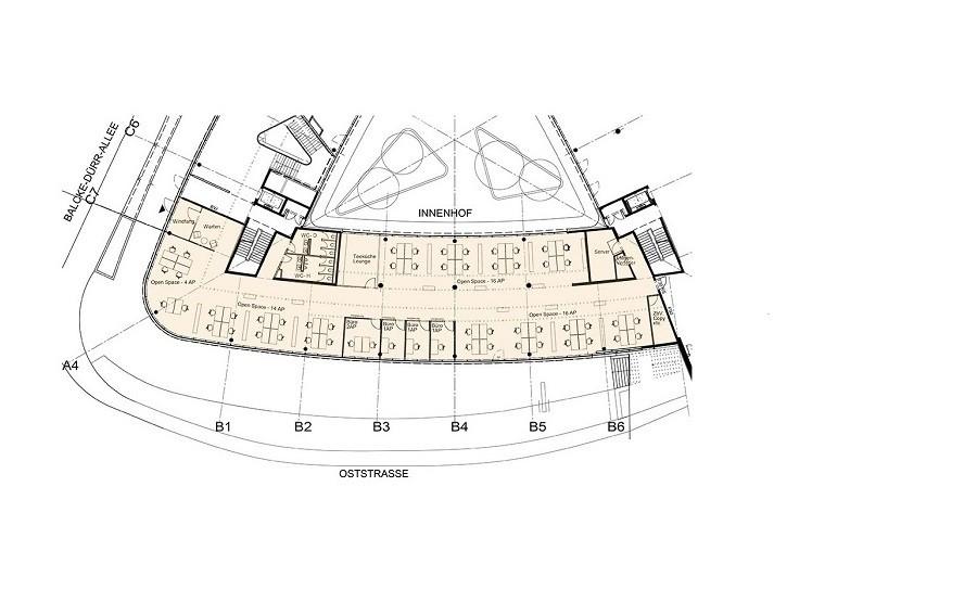 Grundriss Triangulum Bürofläche farbig angelegt