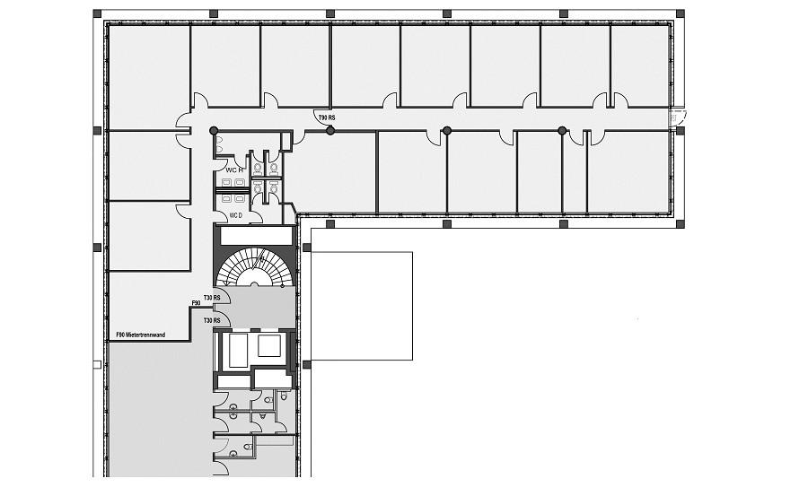 Grundriss Bürofläche Prinzenpark in s/w