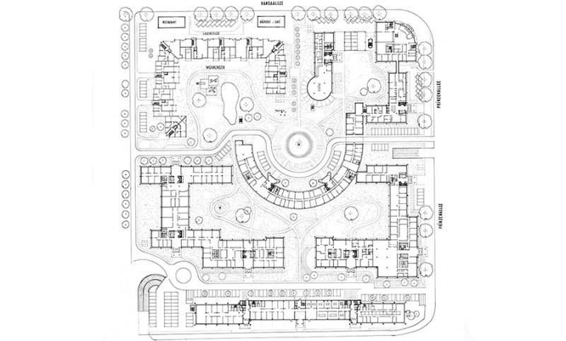 Site plan Prinzenpark with green areas in b/w