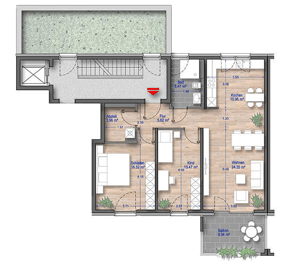 Grundriss 3 Zimmer Wohnung Düsseldorf