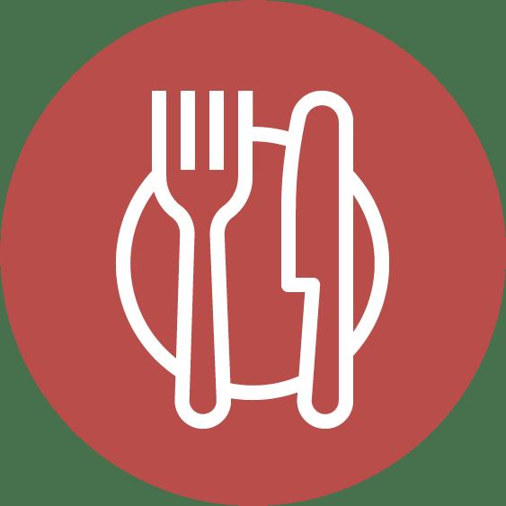 Icon rund für Restaurants mit Messer und Gabel in Rot-Weiß