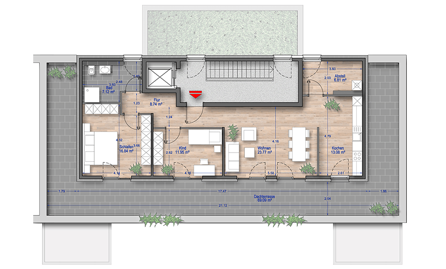 Grundriss Penthouse 3 Zimmer Wohnung Düsseldorf