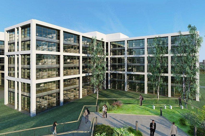 Airport Trade Center Visualisierung exemplarisch für ein Bürogebäude mit Parkanlage und Menschen davor