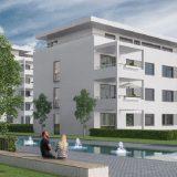 Arcadia Höfe Visualisierung Blick auf zentralen Brunnenplatz und weiße Gebäudefassaden