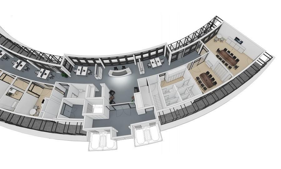 Grundriss Arcadia Stern in 3D farbig angelegt