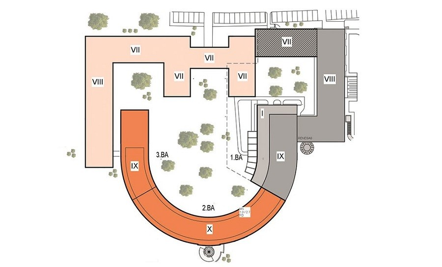 Grundriss Arcadia Parc mit Bepflanzung farbig angelegt