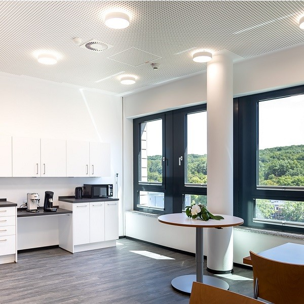 Arcadia Parc interior view staff kitchen with view to the forest