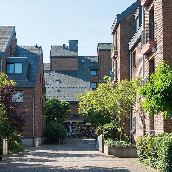 Klemensviertel view in street with residential houses with brick facades
