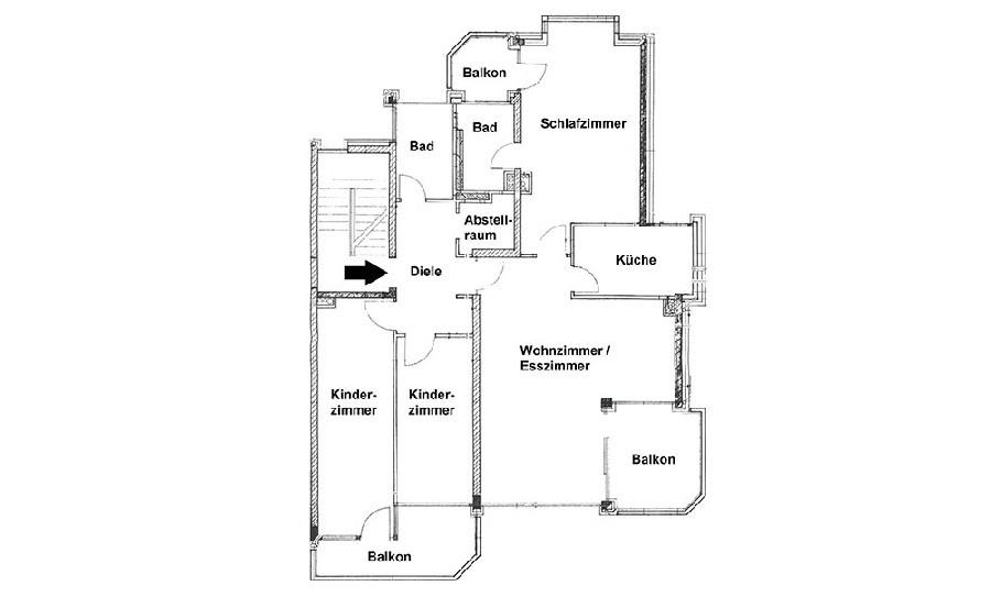 Grundriss Klemensviertel 4-Zimmer Wohnung mit 3 Balkonen und 2 Bädern in s/w