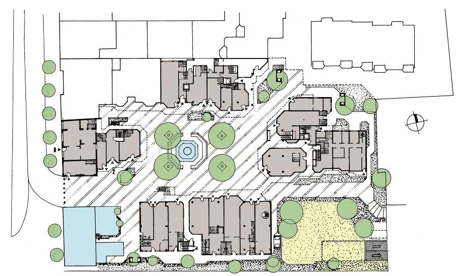 Lageplan Klemensviertel mit Grünanlagen farbig angelegt