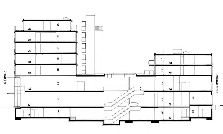 Section cut Königsallee 96 in b/w