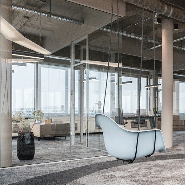 Take-Off animation interior view modern open space office with concrete ceiling