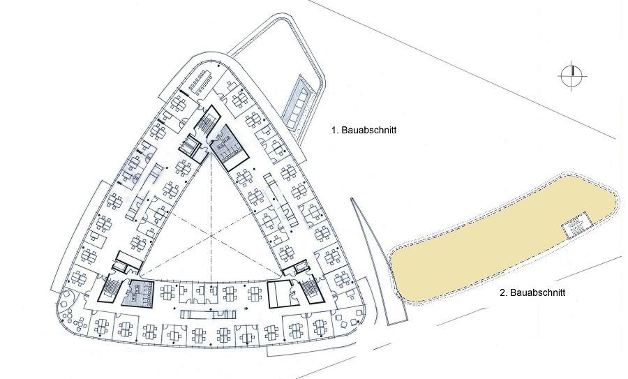 Lageplan Triangulum 2. Bauabschnitt farbig hervorgehoben