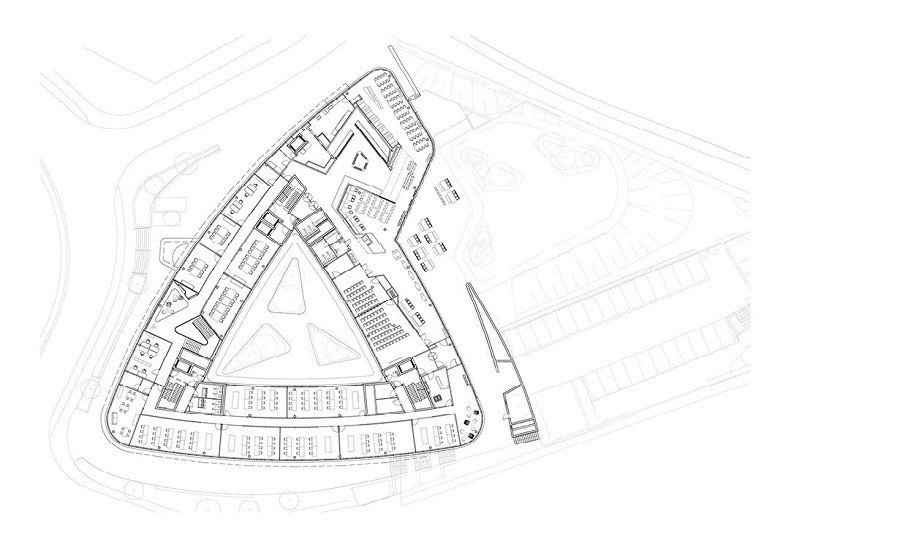 Floor plan office spaces Triangulum in b/w