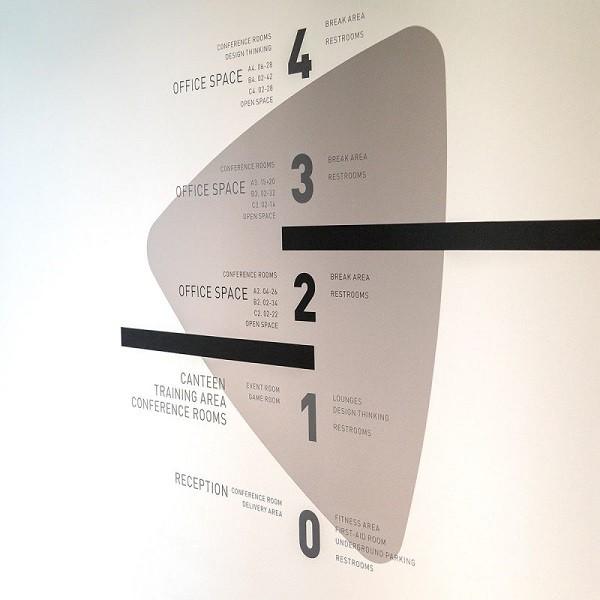 Triangulum Innenansicht Detail Wegeleitsystem auf weißer Wand