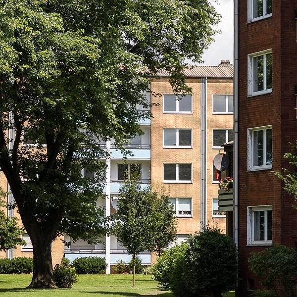 Zinkhüttenpark Ausschnitt Fassaden Blick auf Wohngebäude mit Baum davor