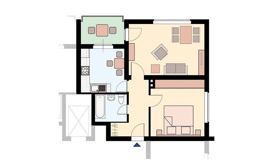 Grundriss Zinkhüttenpark Dreizimmerwohnung Wohnflächen farbig unterlegt