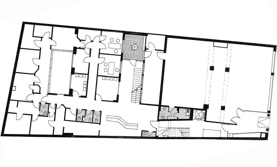 Grundriss Ladenlokal und Büroflächen Jacobistrasse in s/w