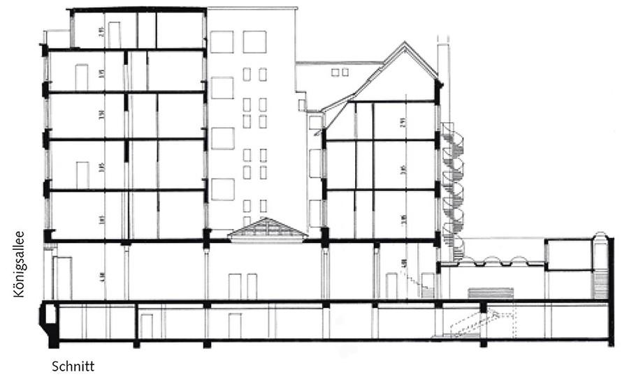 Gebäudeschnitt Königsallee 96 in s/w