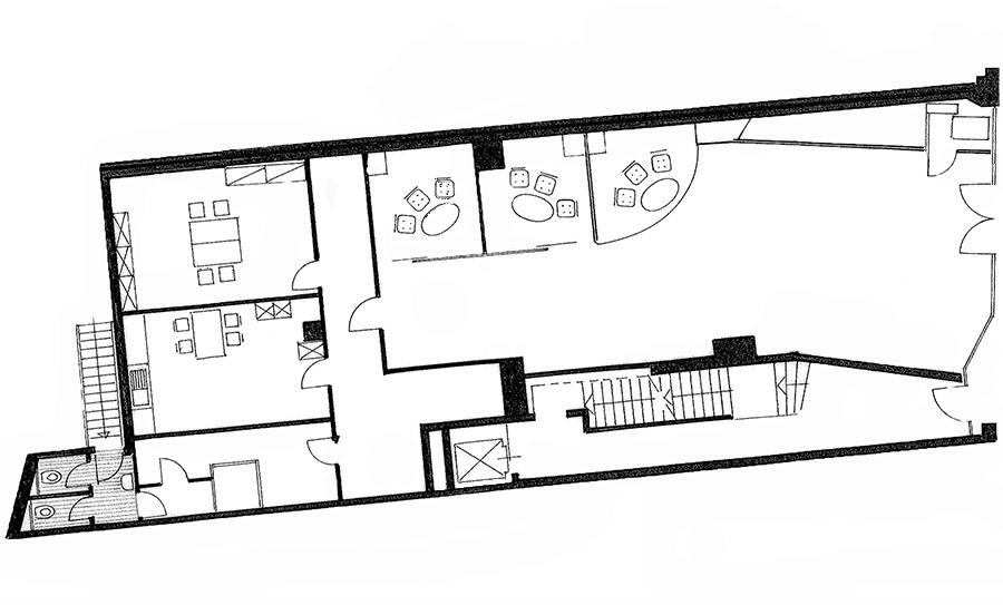 Grundriss Ladenlokal und Büroflächen Schadowstrasse 84 in s/w