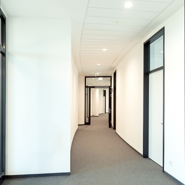 Arcadia Stern interior view into white hallway with black office door frames