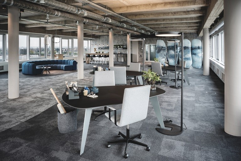 Take-Off animation interior view modern open space office with grey carpet